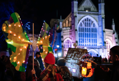 Winchester Cathedral Christmas Market Latern Parade (Photo by Harvey Mills)
