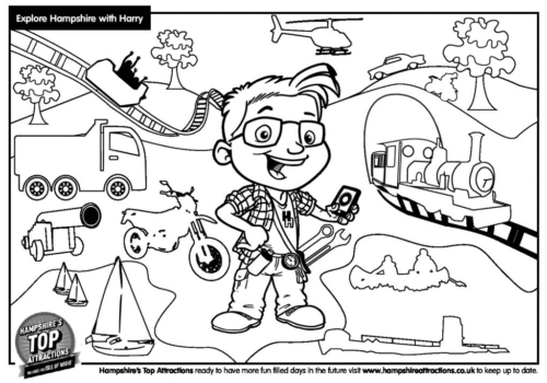 Harry Hampshire colouring transport page 2020