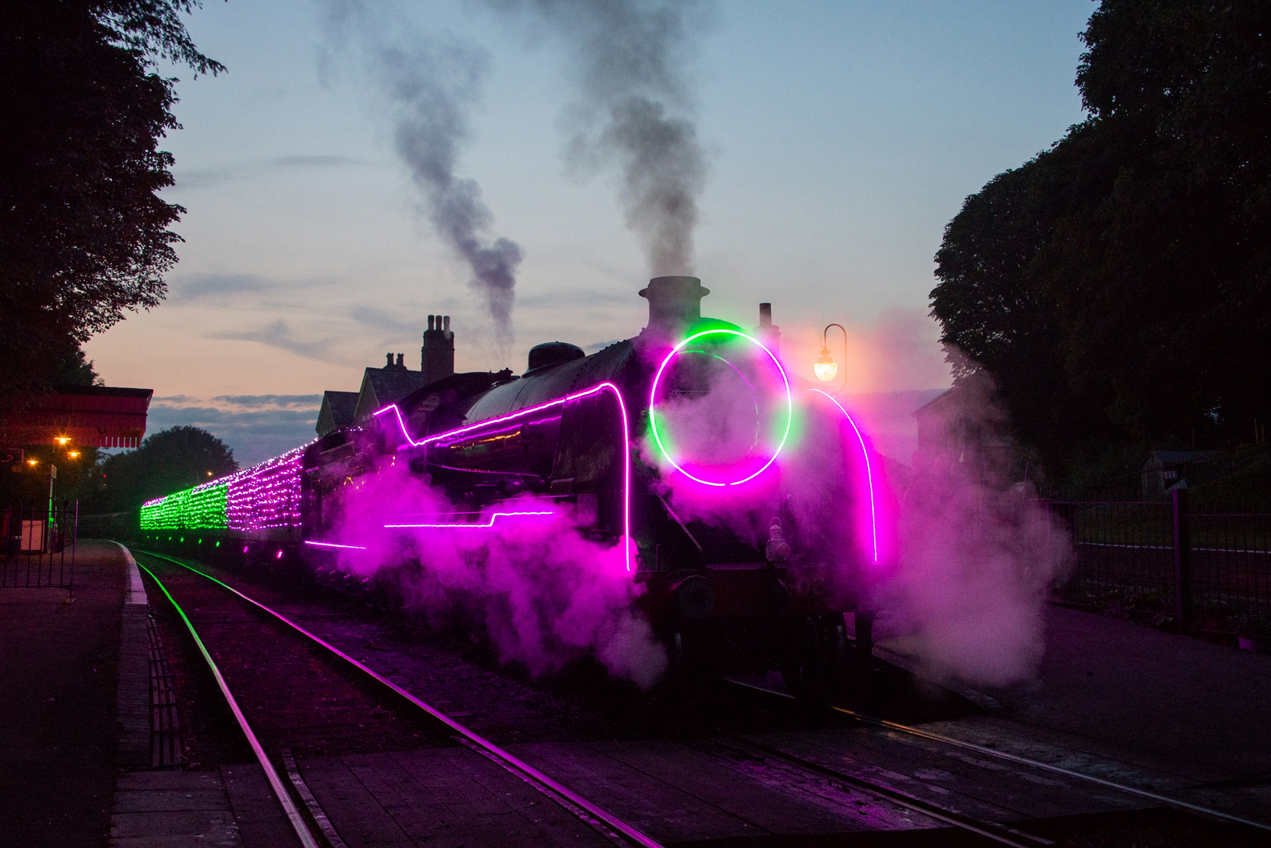 Steam Illuminations at The Watercress Line.